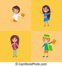 コレクション, 子供, 4, ベクトル, 楽しみ, 持つこと