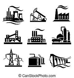 コレクション, 工場, 別, 産業, 植物, 力, アイコン, シンボル