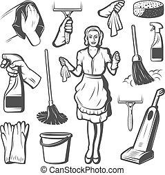 コレクション, 清掃, 要素, サービス, 型