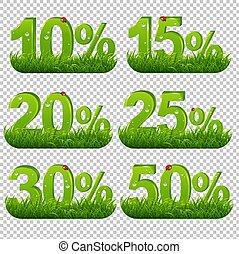 コレクション, 緑の背景, percents, 草, 透明