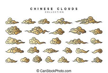 コレクション, 色, 金の雲, 中に, 中国語, スタイル