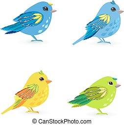 コレクション, 鳥, デザイン, 小さい, 美しい, あなたの