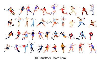 コレクション, athlet, set., 別, 専門家, 人々, スポーツ, activity.