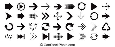 コレクション, interface., デザイン, 印, 矢, モビール, apps, set., 網, アイコン, 矢