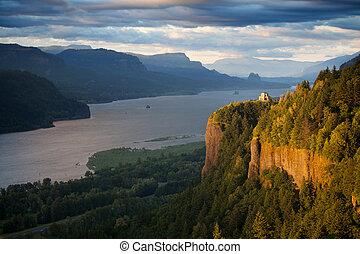 コロンビア, ポイント, 王冠, -, オレゴン, 川の景色