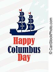 コロンブス, アメリカ, 発見者, banner., masts., 日, イラスト, アメリカ, 旗, ベクトル, 帆船, 休日, 船