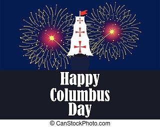 コロンブス, 休日, ベクトル, 火, 日, america., fireworks., クリストファー, banner., 発見者, 船, イラスト