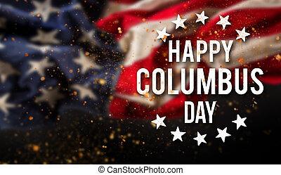 コロンブス, 旗, 背景, 愛国心が強い, 日, 幸せ