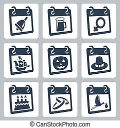 コロンブス, 知識, holidays:, アイコン, ハロウィーン, 女性, 感謝祭, シャワー, 日, ベクトル, birthday, 結婚式, 赤ん坊, インターナショナル, カレンダー, 表すこと, oktoberfest