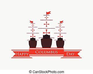 コロンブス, 航海, 発見者, banner., masts., イラスト, アメリカ, 日, ベクトル, リボン, 船, 休日, 船, 幸せ