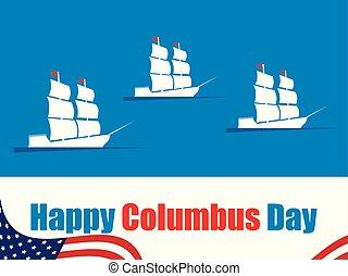 コロンブス, 航海, 発見者, banner., masts., イラスト, アメリカ, 日, ベクトル, 波, 船, 休日, 船, 幸せ