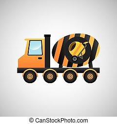 コンクリート, グラフィック, トラック, ミキサー, アイコン
