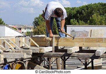コンクリート, -, サイト, 型枠, banchinaggio, 建設, 厚板, 構造, 大工仕事