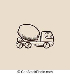 コンクリート, スケッチ, トラック, icon., ミキサー