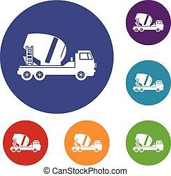 コンクリート, セット, トラック, ミキサー, アイコン