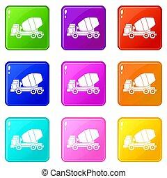 コンクリート, セット, 9, トラック, ミキサー