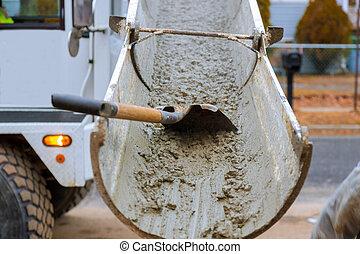 コンクリート, セメント, 住宅の, の間, トラック, たたきつける, 通り