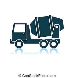 コンクリート, トラック, ミキサー, アイコン
