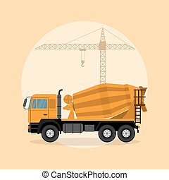 コンクリート, トラック, ミキサー