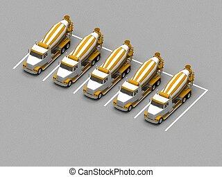 コンクリート, トラック, ミキサー, 駐車