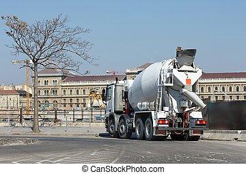 コンクリート, トラック, 建設, ミキサー, サイト