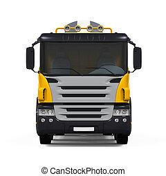 コンクリート, トラック, 黄色, ミキサー