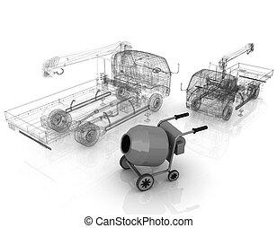 コンクリート, モデルトラック, ミキサー, 3d