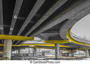 コンクリート, 下に, 道, 橋