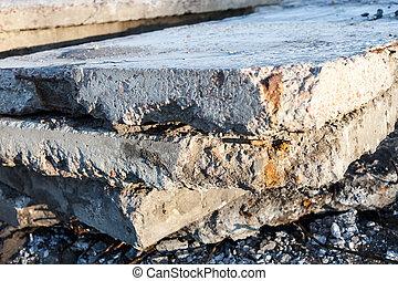 コンクリート, 傷つけられる, 古い, blocks.