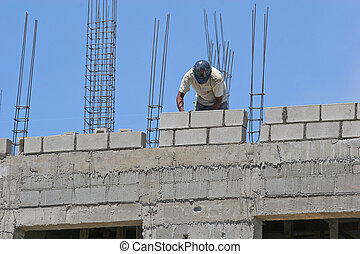 コンクリート, 労働者, ブロック