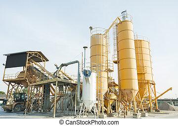 コンクリート, 植物, 生産, excavator., サイロ