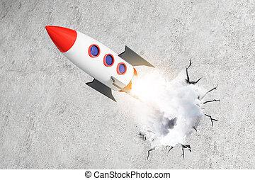 コンクリート, 発射, ロケット, 背景