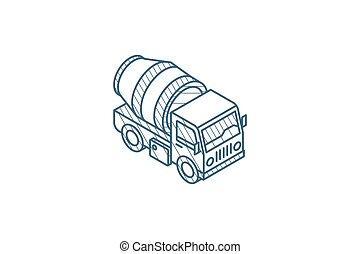 コンクリート, 線, ストローク, 混合, icon., トラック, テクニカル, ベクトル, 芸術, 等大, ...
