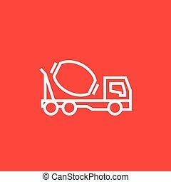 コンクリート, 線, トラック, icon., ミキサー