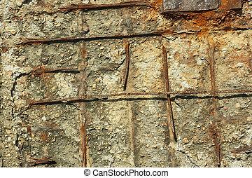 コンクリート, 錆ついた, 構造, 補強された