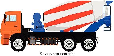 コンクリート, 隔離された, ミキサー, バックグラウンド。, ベクトル, 白, truck.