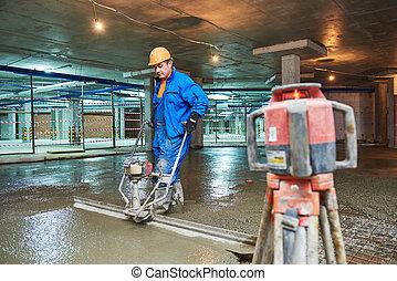 コンクリート, screeder, 労働者, construction., 床