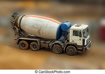 コンクリート, truck., ミキサー