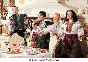 コンサート, ウクライナ, レストラン, 伝統的である, バンド, 音楽, 民族, 内部