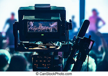 コンサート, カメラ, ビデオ, カメラ。, v, 専門家, 射撃, 光景