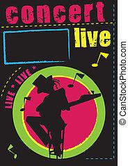 コンサート, キャバレー, 生きている, 音楽, ポスター