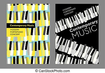 コンサート, セット, ポスター, 明るい, 音楽, ピアノ