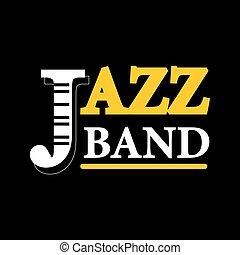 コンサート, テキスト, ジャズ, 隔離された, ラベル, 黒い背景, ロゴ