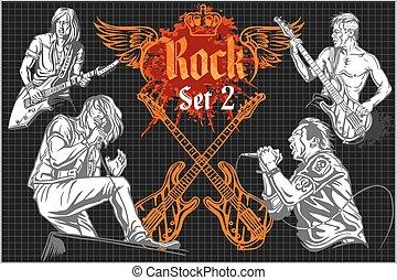コンサート, ポスター, 岩, -, ベクトル, 1980s., illustration.