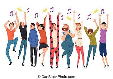 コンサート, 人々, 歌うこと, イラスト, ベクトル, 実行者, 群集, 若い, 前方へ, ダンス
