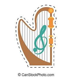 コンサート, 点を打たれた, 道具, 線, ミュージカル, ハープ