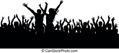 コンサート, 群集, 人々, ダンス, シルエット, 朗らかである, ディスコ