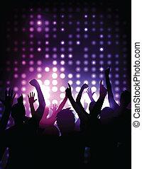 コンサート, 群集, -, 元気づけること, ベクトル, 背景