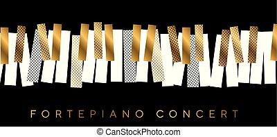 コンサート, 金, 抽象的, 音楽, 招待, 黒