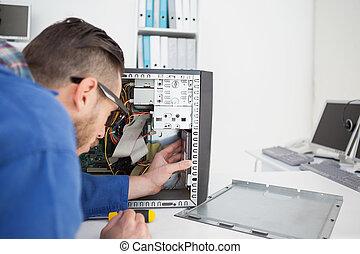 コンソール, エンジニア, 仕事, ねじ回し, 壊される, コンピュータ